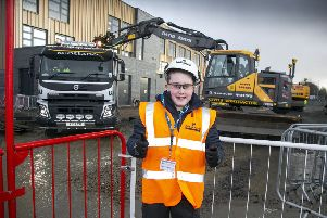 Jack McCranor during his work experience day at the new Inverurie Community Campus site