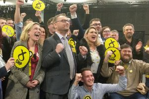 Former Ellon Times reporter and now the new Gordon SNP MP Richard Thomson celebrates his election win