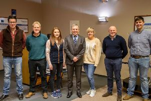 Ellis Mutch (second right) with IAAS President Scott Donaldson, Oliver Shearman, Sam Ferguson, Aimie Bissett, Linzi Henderson and Gregor Hamilton