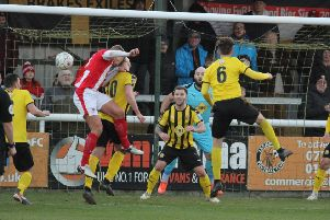 Brackley see another first-half chance go begging. Pictures: Tim Nunan