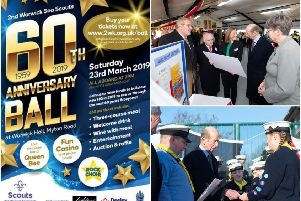 The poster for the fundraising ball and photos from when His Royal Highness The Duke of Kent officially opened the 2nd Warwick Sea Scouts' new jetties and boatyard. Photos submitted.