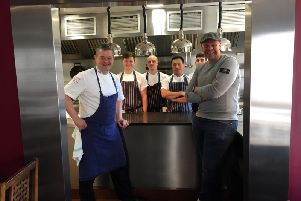 Adam Bennett, chef director at The Cross in Kenilworth with Tom Kerridge and the kitchen team at The Cross.