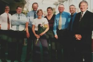 Department management team at farewell lunch party to mark Stephanie Cooke's departure in 2002. Left to Right: Nigel Bishop, Chris Brown, Pete Rourke, Stephanie Cooke, Rose Winship, Pete Nicholson, Jeff Watkins, Dale Best.