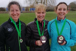 Leamington C&AC's victorious masters' team of Sue Harrison, Jenny Jeeves and individual gold winner Kelly Edwards.