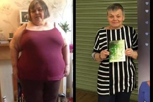 Sue Summerton before and after she lost 14 stone with the Lillington Slimming World group.