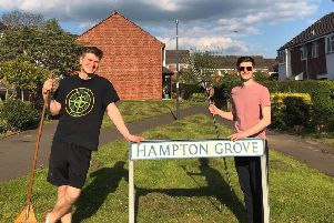 Students in Leamington clean up cut grass as good deed for neighbours