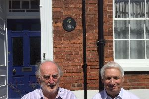Peter James and Graham Gould with their new book in front of Hill House
