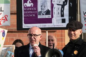 Warwick and Leamington MP Matt Western speaks at a rally outside Leamington Town Hall in protest to Warwick District Council controversial plans to relocate its headquarters in the town.