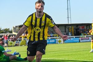 Josh March celebrates his second of the afternoon. Pictures: Lou Smith