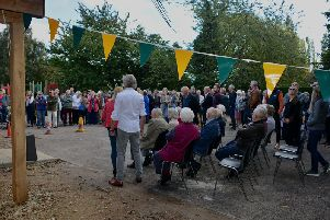 People gather for the official launch of the newly built Norton Lindsey village hall.