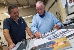 Photographer, Ted Everett (right), visited Emmerson Press in Kenilworth to see the printing of the first copies his new book. He is pictured here with Mark Fielder, Director and Head Printer.