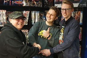 From left: Glyn Smith, the former owner of the Banbury store, Comic Connections and Jamie (middle) and Karl Williams at the Leamington store, Collectors Assemble.