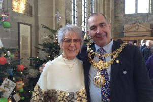 Carol Warren and the Mayor of Warwick, Cllr Neale Murphy. Photo by St Mary's Church