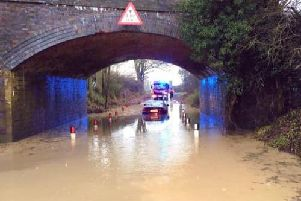 Flooded ford rescue in Ettington