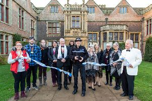 Cutting the police tape with help from Wellesbourne police (photo by Jana Eastwood)