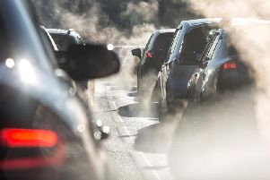 Pollution caused by a traffic jam.