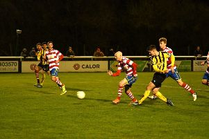 Jack Edwards slots home the only goal of the game. Pictures: Dean Williams