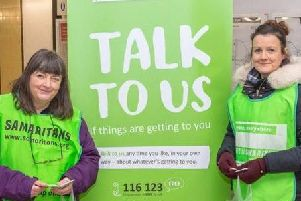 Samaritans volunteers at Leamington Station as part of the Brew Monday campaign in 2019. Photo submitted.
