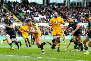 Jacob Umaga during a Wasps v Northampton Saints match