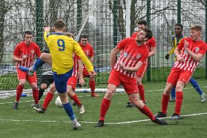 Levi Steele fires home for Southam United. Picture: Lou Smith