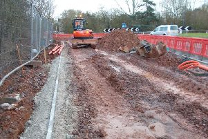Work taking place at Stanks Island and Birmingham Road works. Photo by Warwickshire County Council