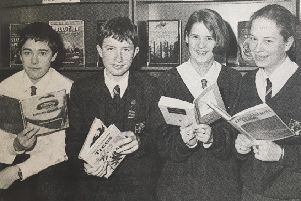 Larne High pupils in 1995 : Donna Heaney, Raymond Graham, Carla Barkley and Donna Taggart