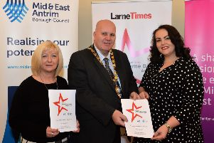 Mayor of Mid and East Antrim Borough Council, Councillor Paul Reid is pictured with Martine Lafferty,(left)  Advertising Sales Executive with the Times series and Patrica Stewart representing Power NI at the official launch of the Larne Times, Larne Business Awards 2018 in Larne Town Hall. INLT 06-004-PSB