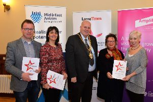 Valerie Martin (right) Group Editor of Johnston Press NI  is pictured with Councillor Andy Wilson, Councillor Ruth Wilson , Mayor Councillor Paul Reid and Councillor Gerardine Mulvenna all representing Mid and East Antrim Borough Council at the official launch of the Larne Times, Larne Business Awards in Larne Town Hall. INLT 06-002-PSB