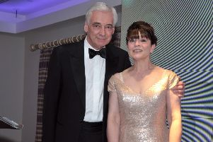 Compere at the Larne Business Awards, Paul Clark, with Carlee Letson. INLT 19-231-AM