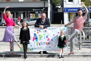 Launching the 2018 Larne Arts Festival are, from left: Becky Laidlaw,  Kelsie Brown, Councillor Paul Reid, Mayor of Mid and East Antrim Borough Council, Ella Johnston and Emmen Donnelly.  Photo: Declan Roughan, Press Eye.