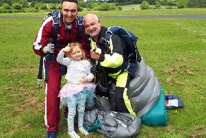 Peter Gardner, his daughter Ava and Wild Geese instructor Andrew Davis.