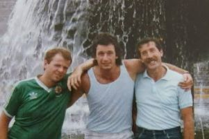 Main image: Davy Wilson (on the left) is with his cousin Mark Suffern (centre) and friend John McGimpsey in Guadalajara