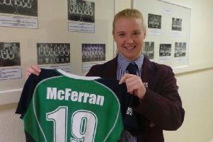 Ayeisha McFerran with her Ireland shirt after winning her first cap