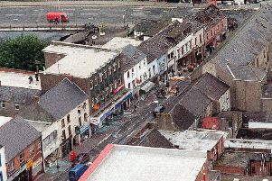 An aerial view of the devastation caused in Omagh after a terrorist bomb was detonated at the junction of Market Street and Dublin Road