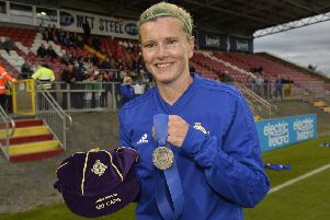 4th September 2018'Ladies International World Cup qualifier between Northern Ireland and Slovakia at Shamrock Park Portadown.' Captain Julie Nelson pictured  on her 100th cap 'Mandatory Credit � Presseye/Stephen Hamilton