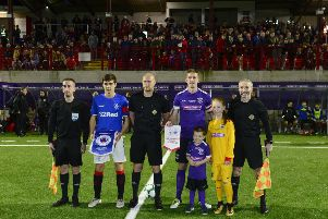 The captains pictured with the match officials. Picture By: Arthur Allison: Pacemaker Press.