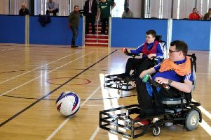 Northern Ireland Powerchair football squad members training for the European Championships in their new Strikeforce chairs.