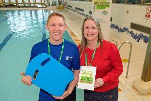 Mid & East Antrim's Move More Co-ordinator, Aaron Irwin and Macmillan Cancer Support's Alex McMeekin