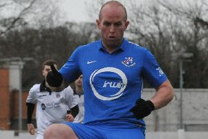 Strabane Athletic's Warner Mullen during his time with Loughgall. Pic by PressEye Ltd.