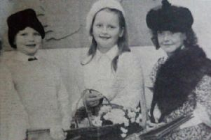 'The Dublin Ladies' who appeared in Torreagh Primary School's musical - Beth, Caroline, Emma, Joanne and Kate. 1989