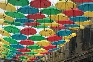 Umbrellas have been suspended at Dunluce Street. Pic by Una Gorman.