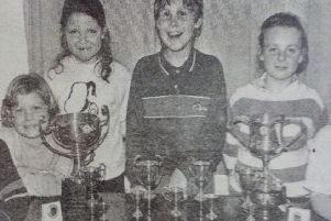 Junior members of Whitehead Swimming Club who received Endeavour Awards at their annual Prize Night. 1989