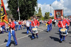 Members of the Clyde Valley Flute Band on parade.