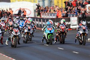The start of the Thursday evening Superstock race in 2018, which was won by Peter Hickman (out of shot).