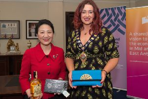 Madame Meifang Zhang was presented with a bespoke brooch designed by local jewellery artisan, Vera McCullough, and a gift pack specially commissioned by Crosskeys whiskey.