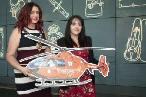 Former Mayor of Mid and East Antrim, Councillor Lindsay Millar with Michelle McDaid from the Air Ambulance NI.