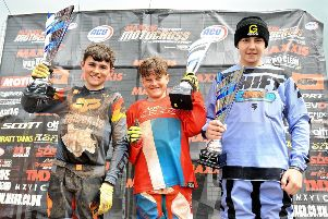 Local boys Fin Wilson, Jake Farrelly and Jay Sherry on the 85cc podium.