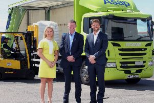 (L-R) are Michelle Wilson, Business Manager and Robert McCullough, Head of Belfast Business Centre at Danske Bank with Mark Adamson, Managing Director of Asap Cargo.