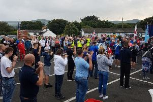 A rally was held at Ballygally carpark on Monday evening.