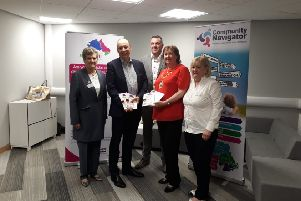 Pictured at the launch of the SCAMChampions project in Mid and East Antrim - Eve Booker MEAAP, Peter May - Department of Justice, Paul Black PSNI, MEABC Mayor Cllr Maureen Morrow, and Edna Walmsley MEAAP.